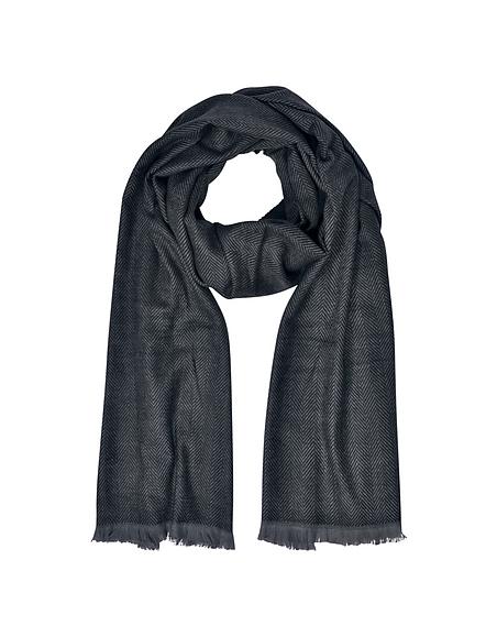 Marina DEste Zigzag Stripe Cashmere Silk and Wool Long Scarf w Fringes