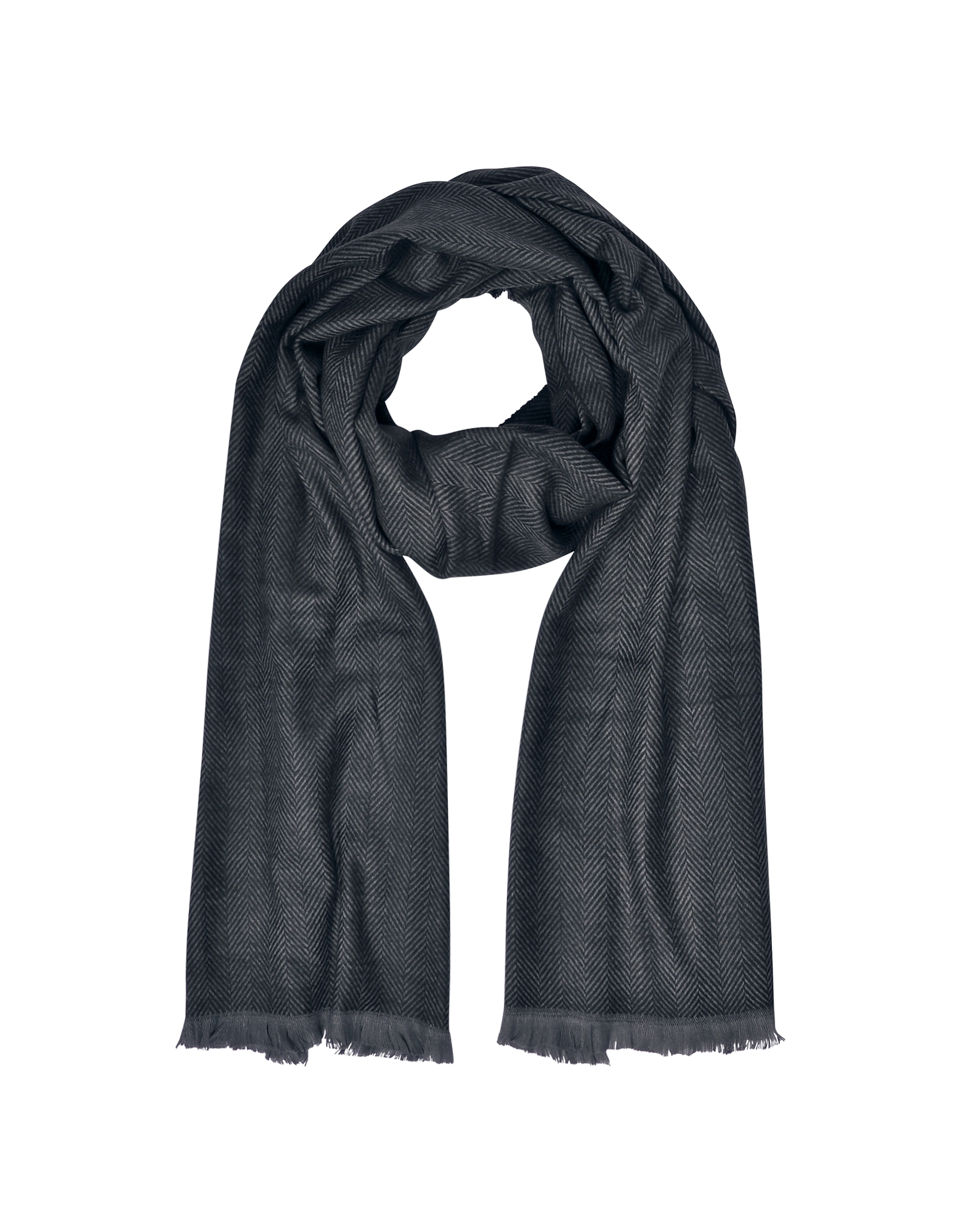 Marina D'Este Long Scarves, Zigzag Stripe Cashmere, Silk and Wool Long Scarf w/Fringes
