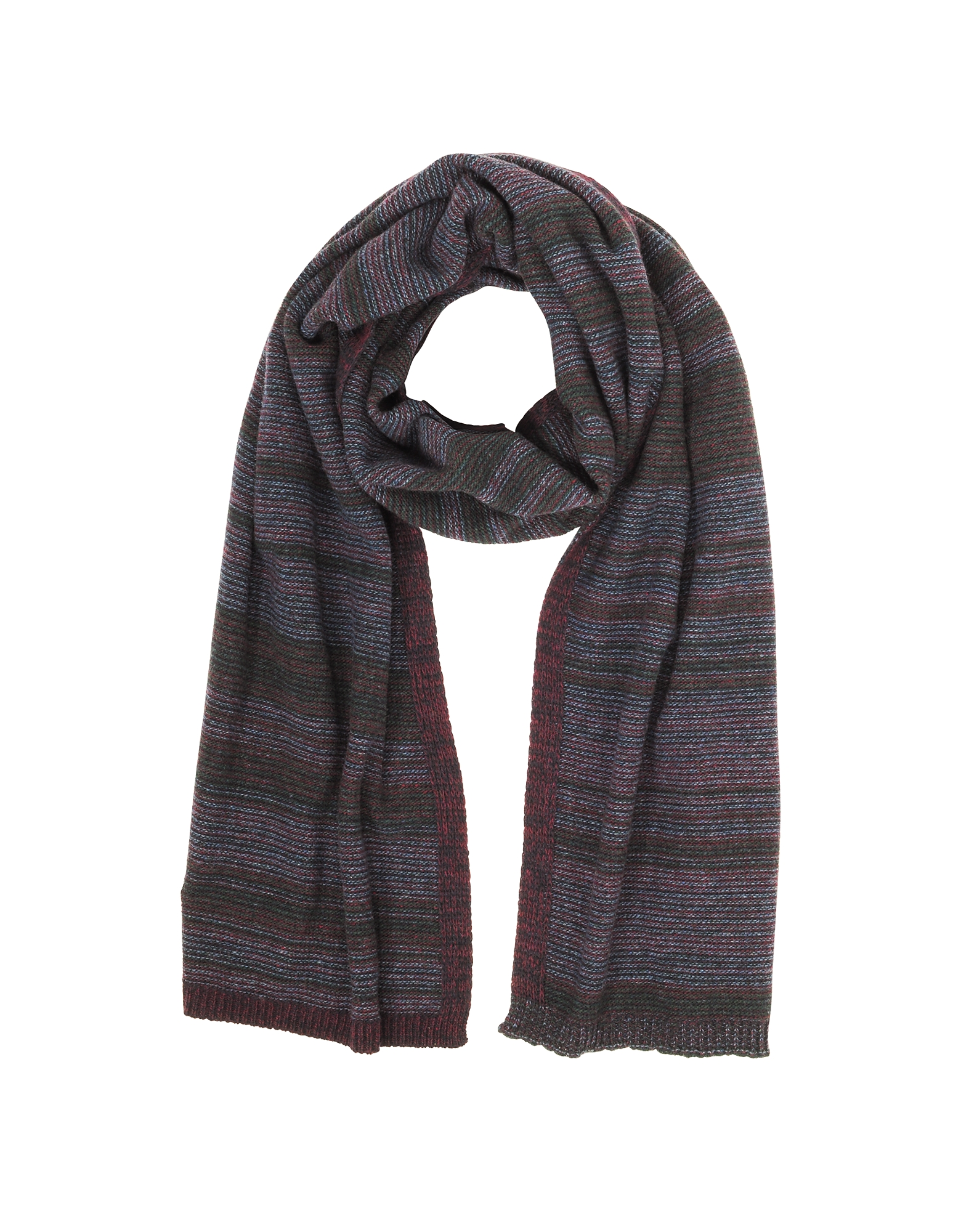 Striped Wool & Cashmere Scarf, Bordeaux