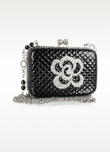 Maddalena Marconi Jeweled Black Quilted Patent Leather ...