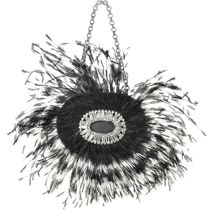 Jeweled Black Feather Evening Oval Kiss Lock Clutch - Maddalena Marconi
