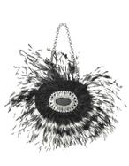 Maddalena Marconi  Jeweled Black Feather Evening Oval Kiss Lock Clutch