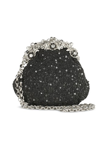 Maddalena Marconi Black Beaded Evening Frame Purse w/Chain Strap :  swarovski cocktail bags beaded purse