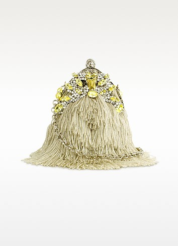 Jeweled Fringed Evening Mini Handbag w/Chain Strap - Maddalena Marconi