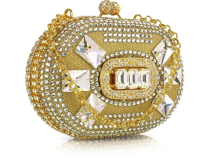 Jeweled Oval Gold Evening Kiss Lock Clutch w/Chain Strap - Maddalena Marconi