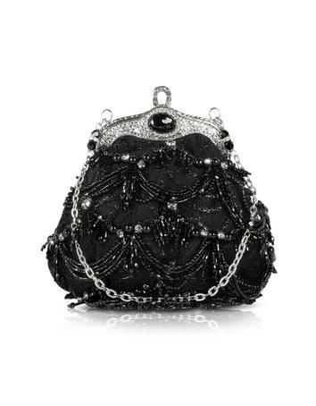 Maddalena Marconi Black Beaded Evening Lace Purse W/Chain Strap