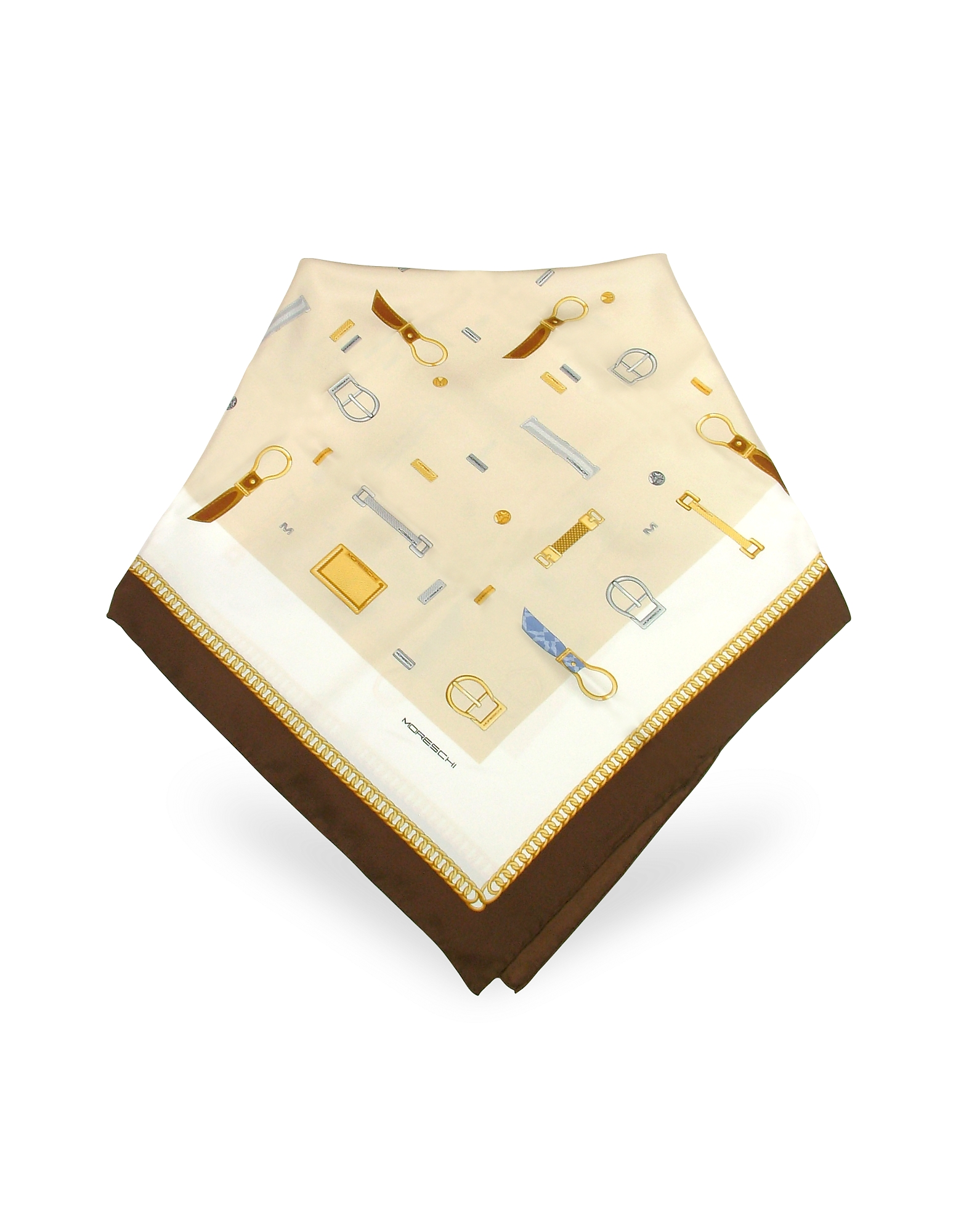 Moreschi Square Scarves, Buckle Print Twill Silk Square Scarf