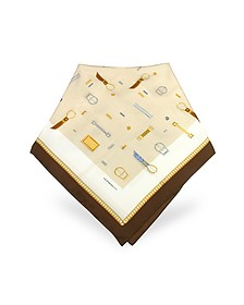 Buckle Print Twill Silk Square Scarf - Moreschi