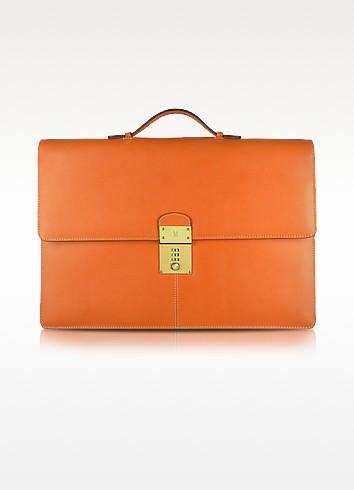 Calf Leather Double Gusset Briefcase - Moreschi