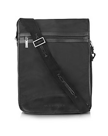Black Techno Fabric Large Messenger Bag - Moreschi