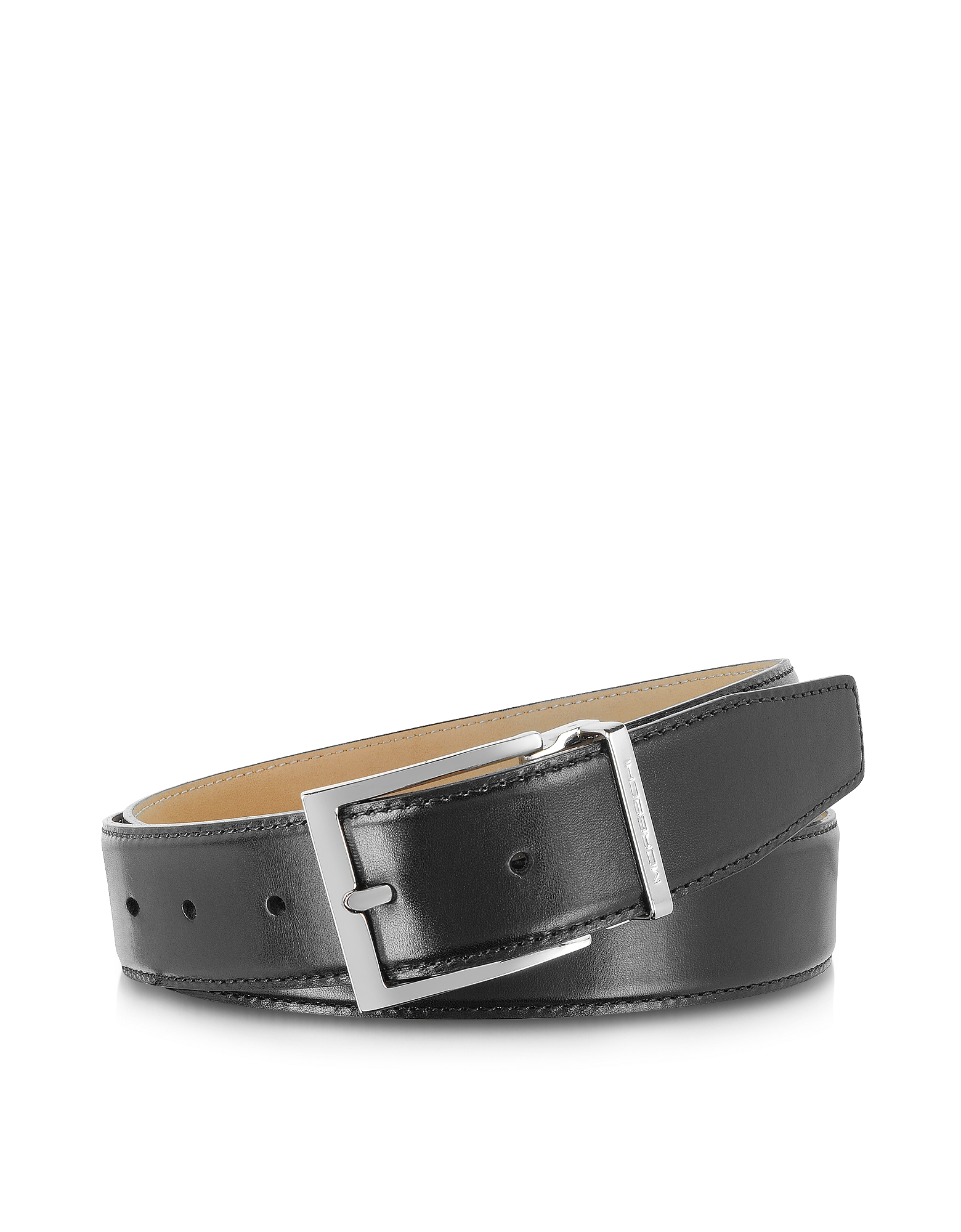 Moreschi Men's Belts, York Black Calf Leather Belt
