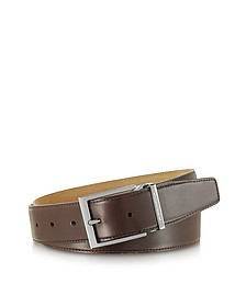 York Dark Brown Calf Leather Belt - Moreschi