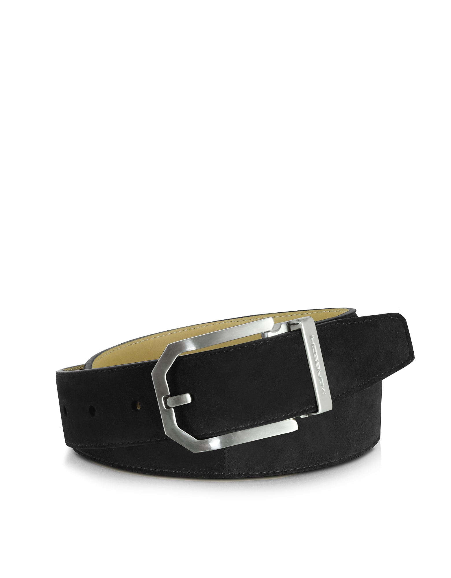 Moreschi Men's Belts, Monterey Black Suede Belt