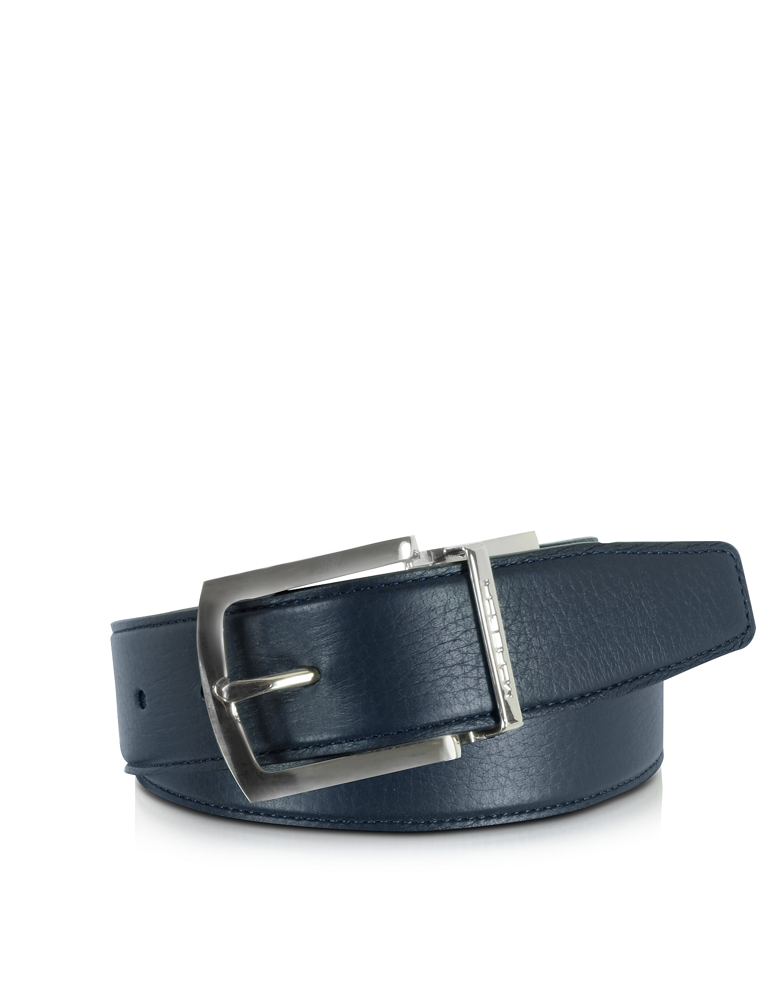 Moreschi Men's Belts, Orlando Navy Blue/Blue Reversible Leather Belt