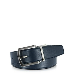 Orlando Navy Blue/Blue Reversible Leather Belt - Moreschi