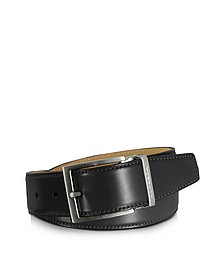 Eton Black Leather Belt  - Moreschi