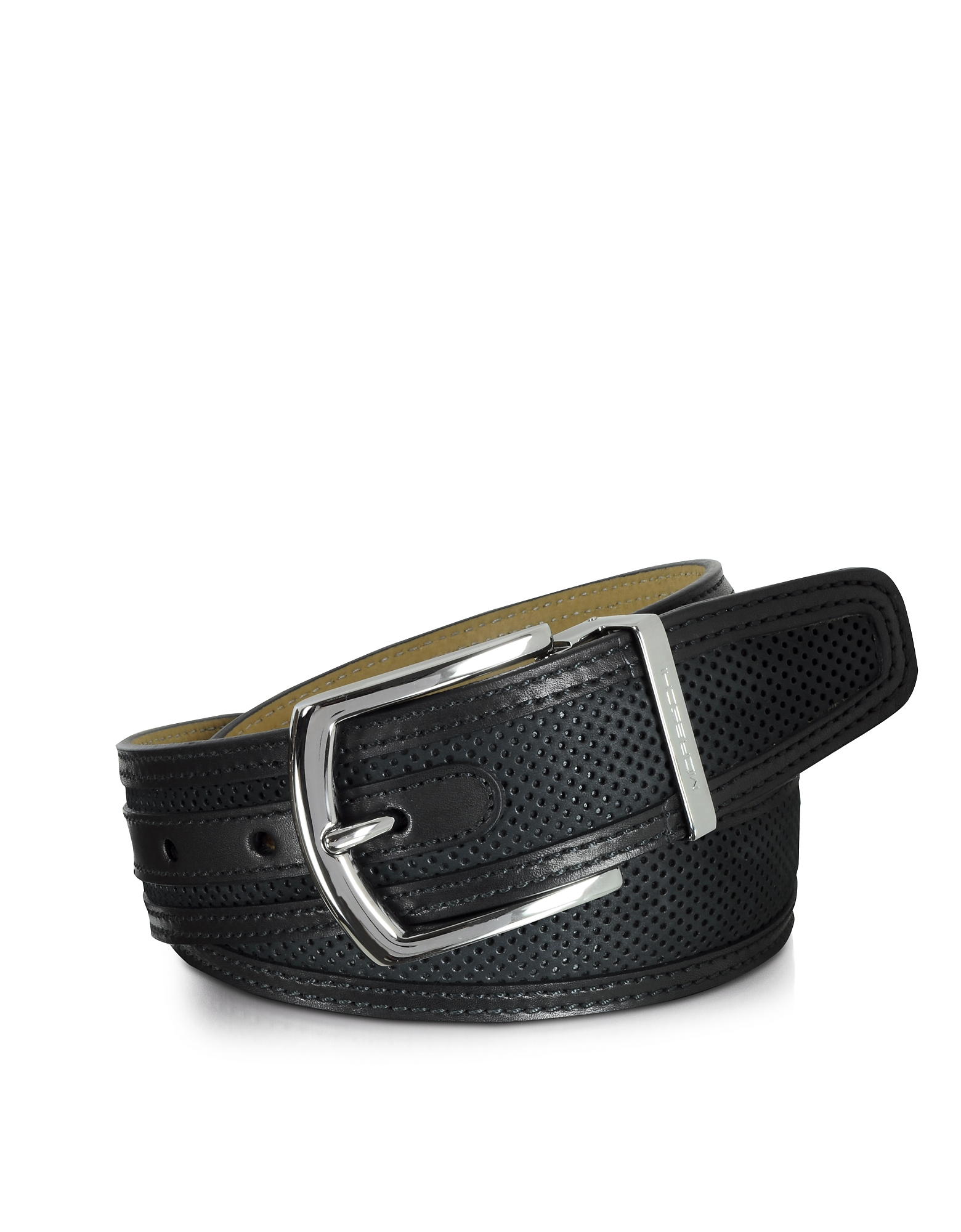 Moreschi Men's Belts, St. Barth Black Perforated Nubuck and Leather Belt