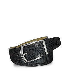 St.Barth Black Perforated Nubuck and Leather Belt - Moreschi
