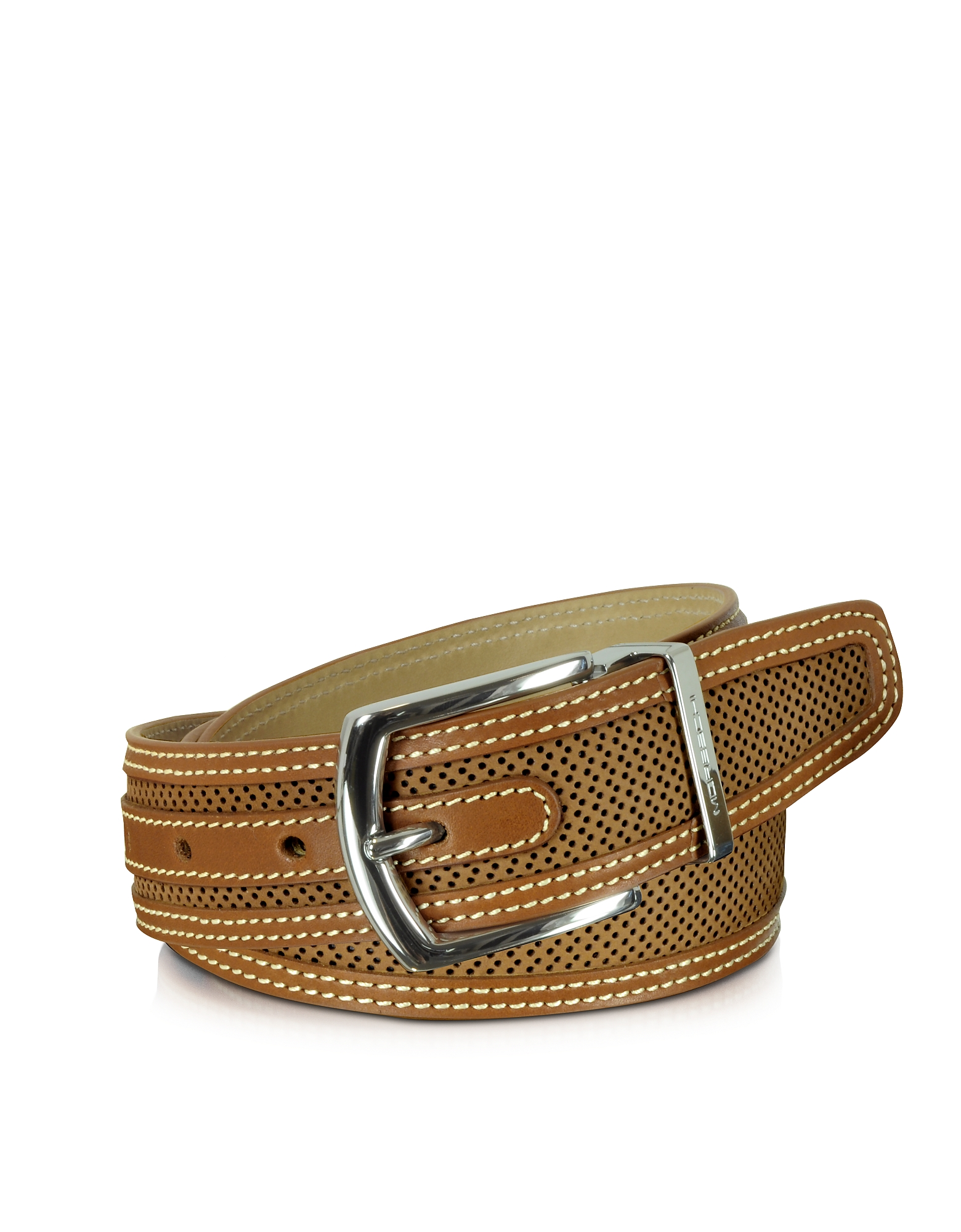 Moreschi Men's Belts, St. Barth Tan Perforated Nubuck and Leather Belt