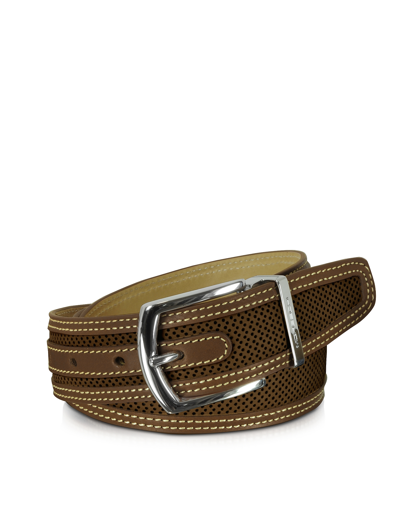 Moreschi Men's Belts, St. Barth Brown Perforated Nubuck and Leather Belt