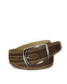 St.Barth Brown Perforated Nubuck and Leather Belt  - Moreschi