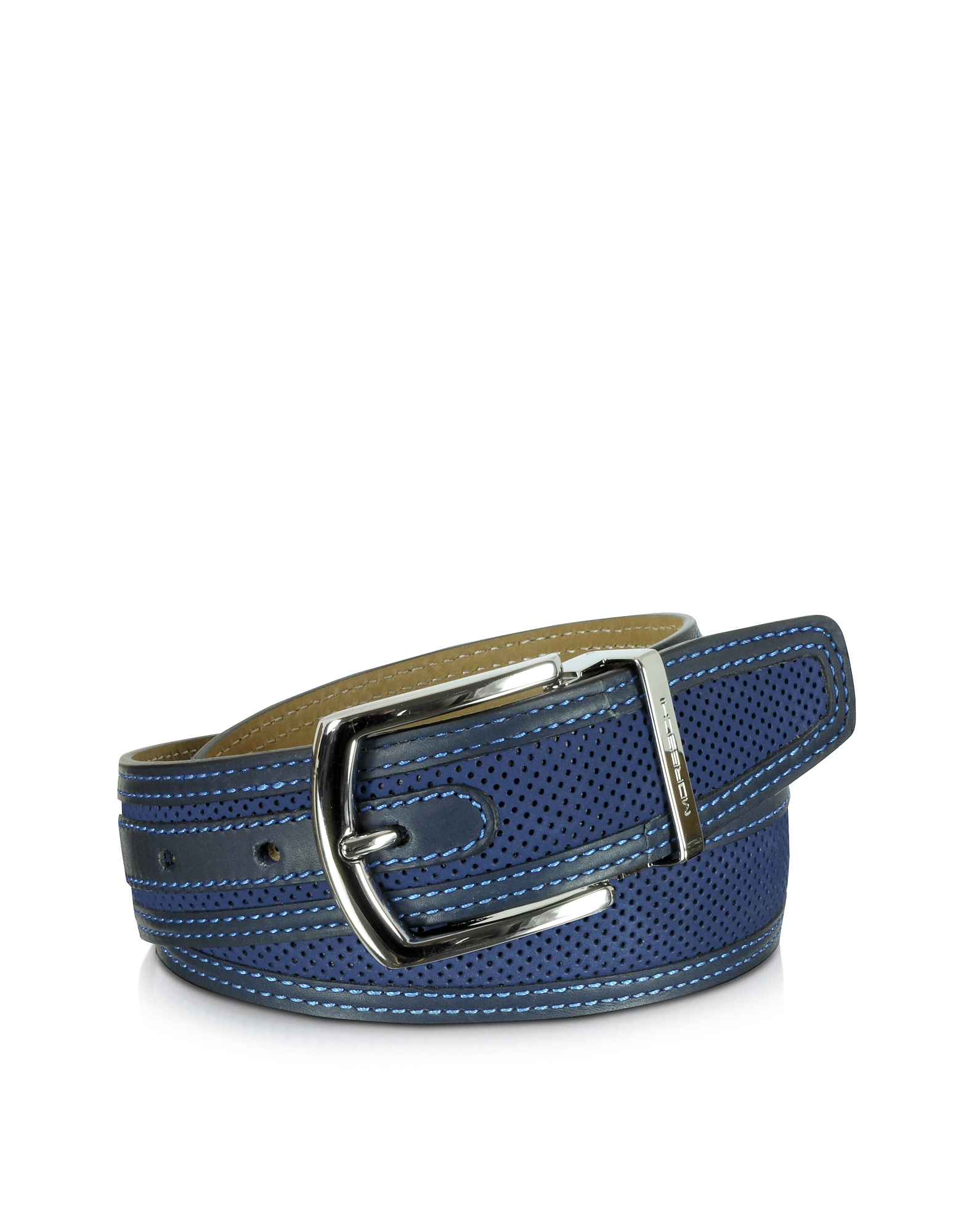 Moreschi Men's Belts, St. Barth Navy Blue Perforated Nubuck and Leather Belt