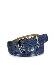 St.Barth Navy Blue Perforated Nubuck and Leather Belt - Moreschi