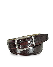 Lione Burgundy Peccary and Leather Belt - Moreschi