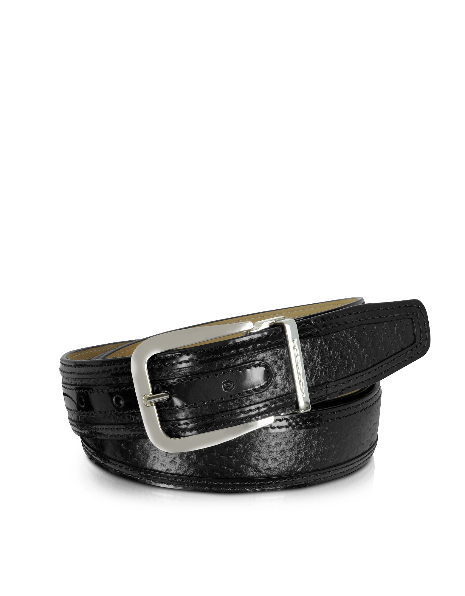 MORESCHI LIONE BLACK PECCARY AND LEATHER BELT