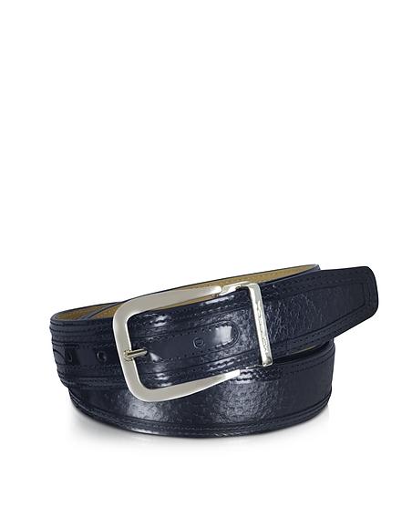 Foto Moreschi Lione Cintura in Pelle Blu Navy Martellata Cinture Uomo