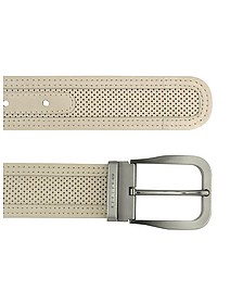 Men's Beige Perforated Leather Belt  - Moreschi
