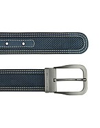 Lux-ID 208337 Men's Navy Blue Perforated Leather Belt