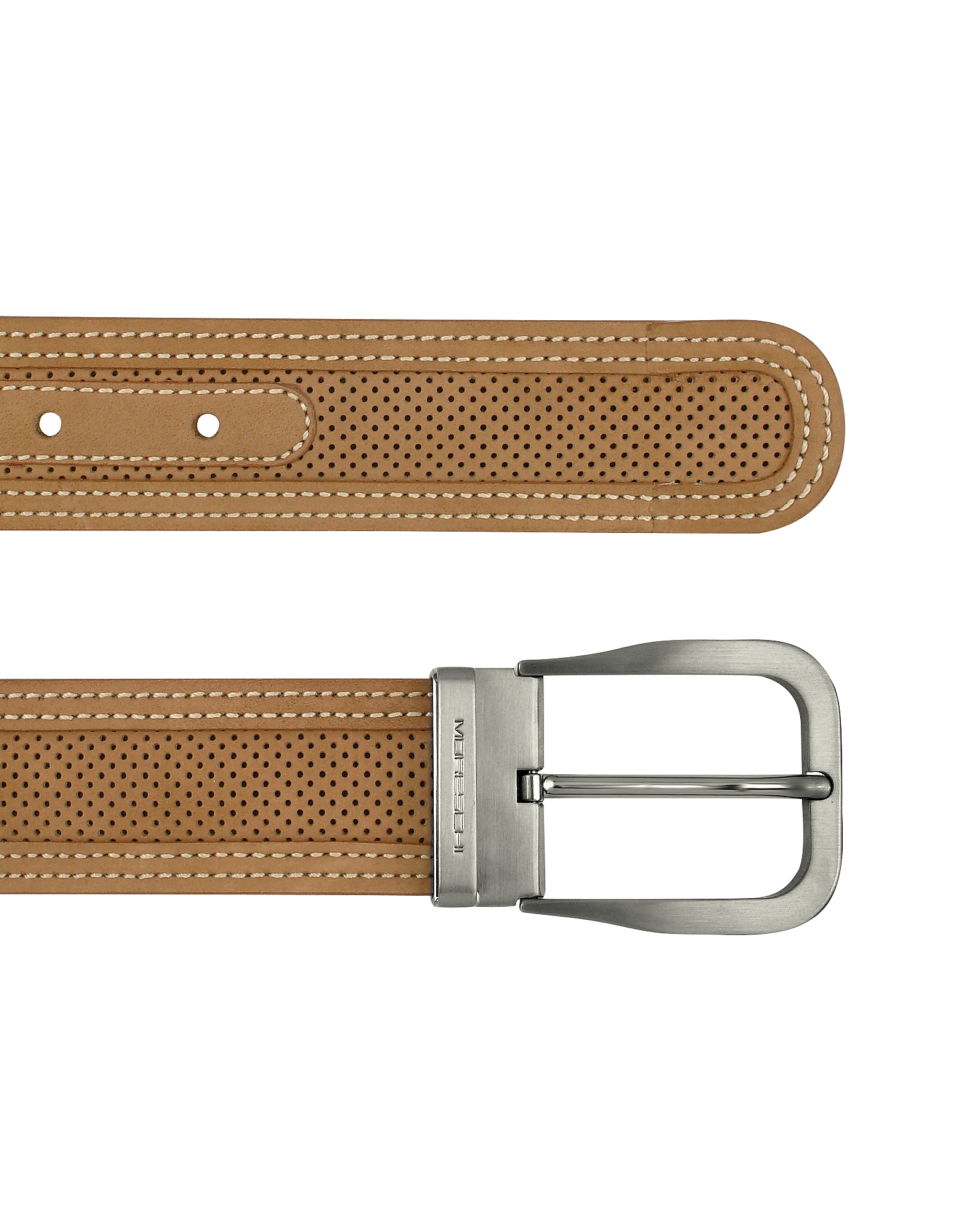 Moreschi Men's Belts, Men's Tan Perforated Leather Belt