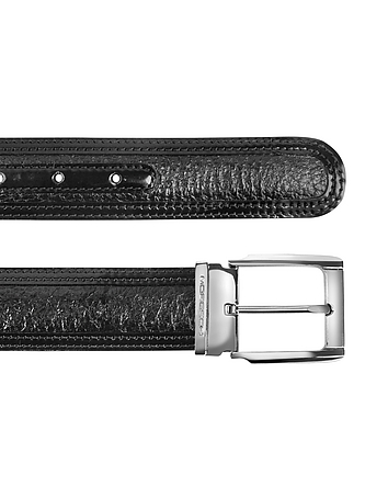 Chiasso - Black Peccary and Calf Leather Belt