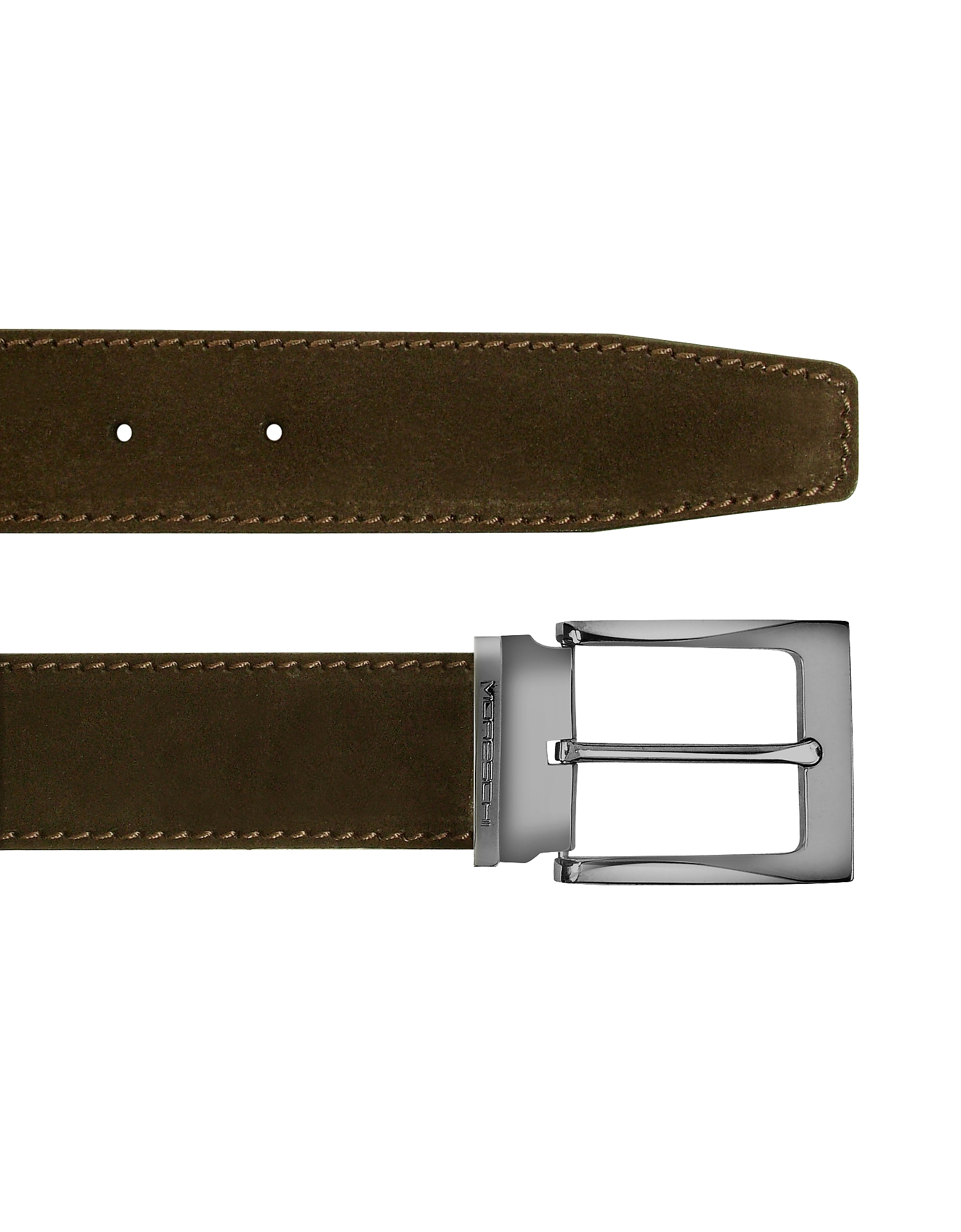 Moreschi Designer Men's Belts, Dallas - Dark Brown Suede Leather Belt
