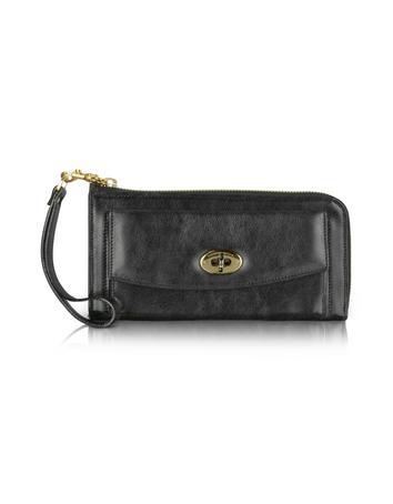 Moreschi Twist-Lock Leather Zip Around Wallet