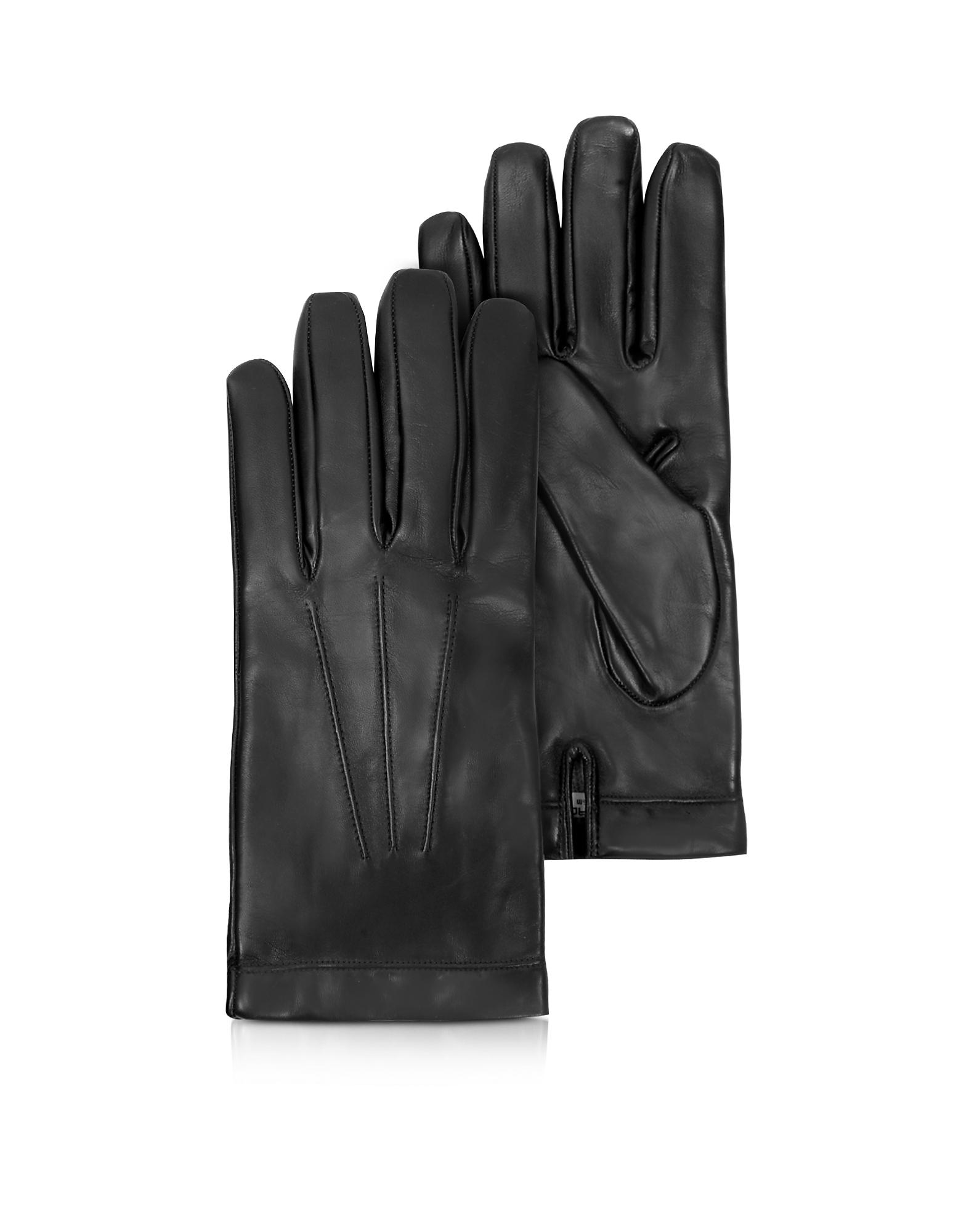 Siberia - Черные Кожаные Мужские Перчатки с Подкладкой из Кашемира