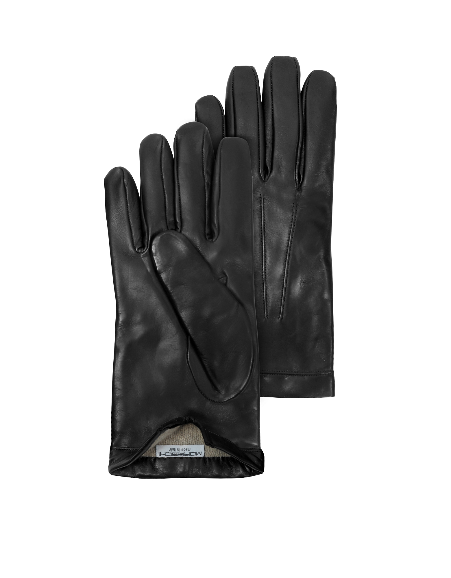 Siberia Black Leather Men's Gloves w/Cashmere Lining от Forzieri.com INT