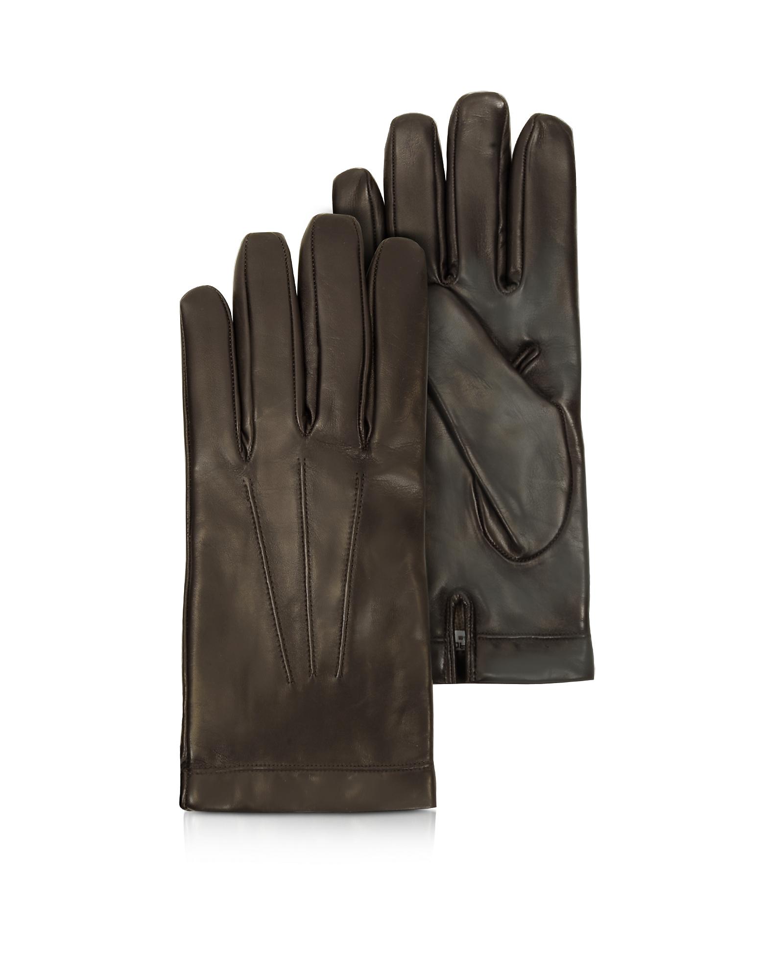 Siberia - Темно-коричневые Кожаные Мужские Перчатки с Подкладкой из Кашемира