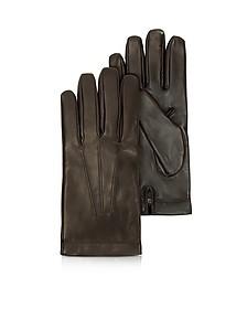 Siberia Herren-Handschuhe aus Leder in dunkelbraun mit Kaschmirfutter - Moreschi