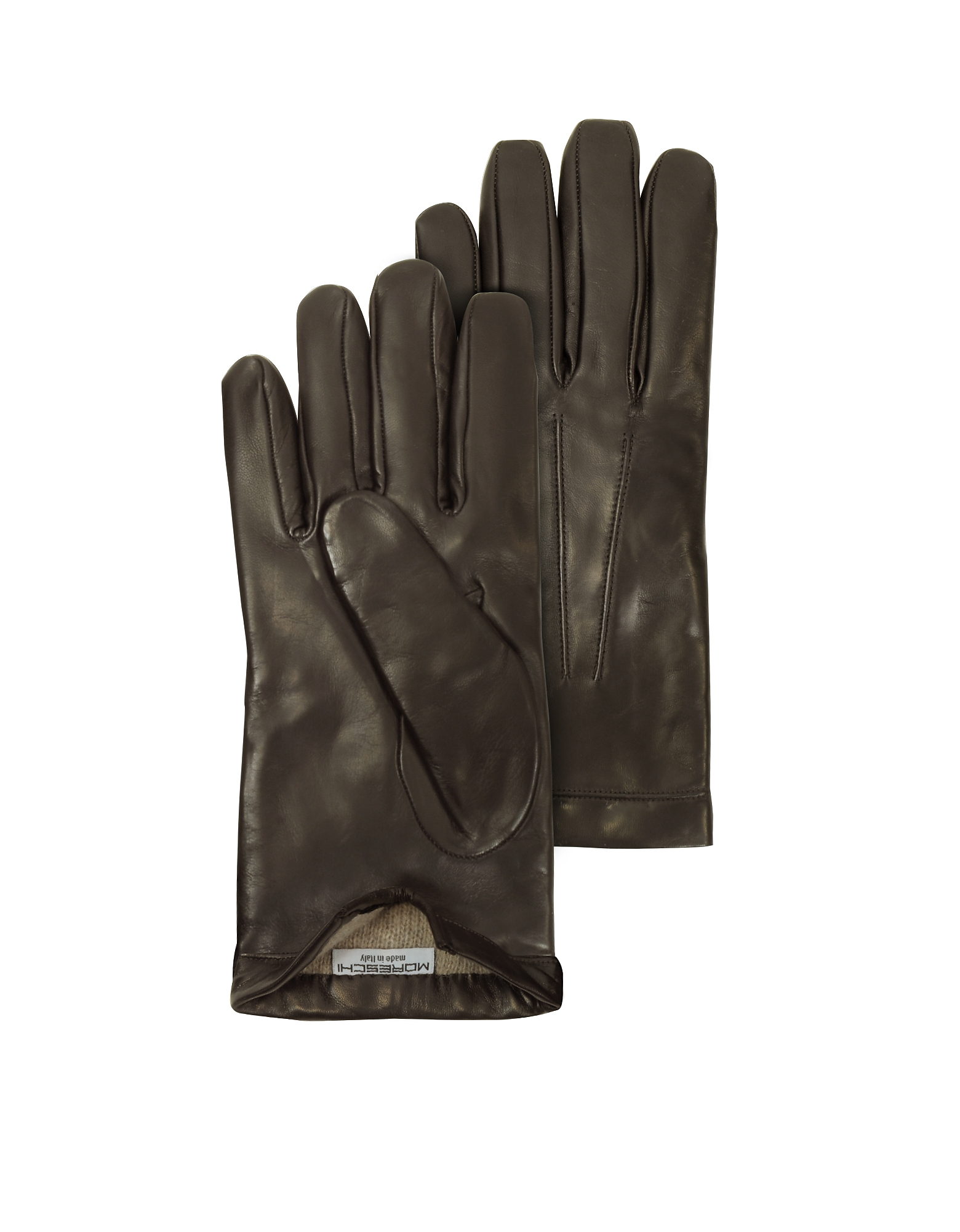 Siberia Dark Brown Leather Men's Gloves w/Cashmere Lining от Forzieri.com INT