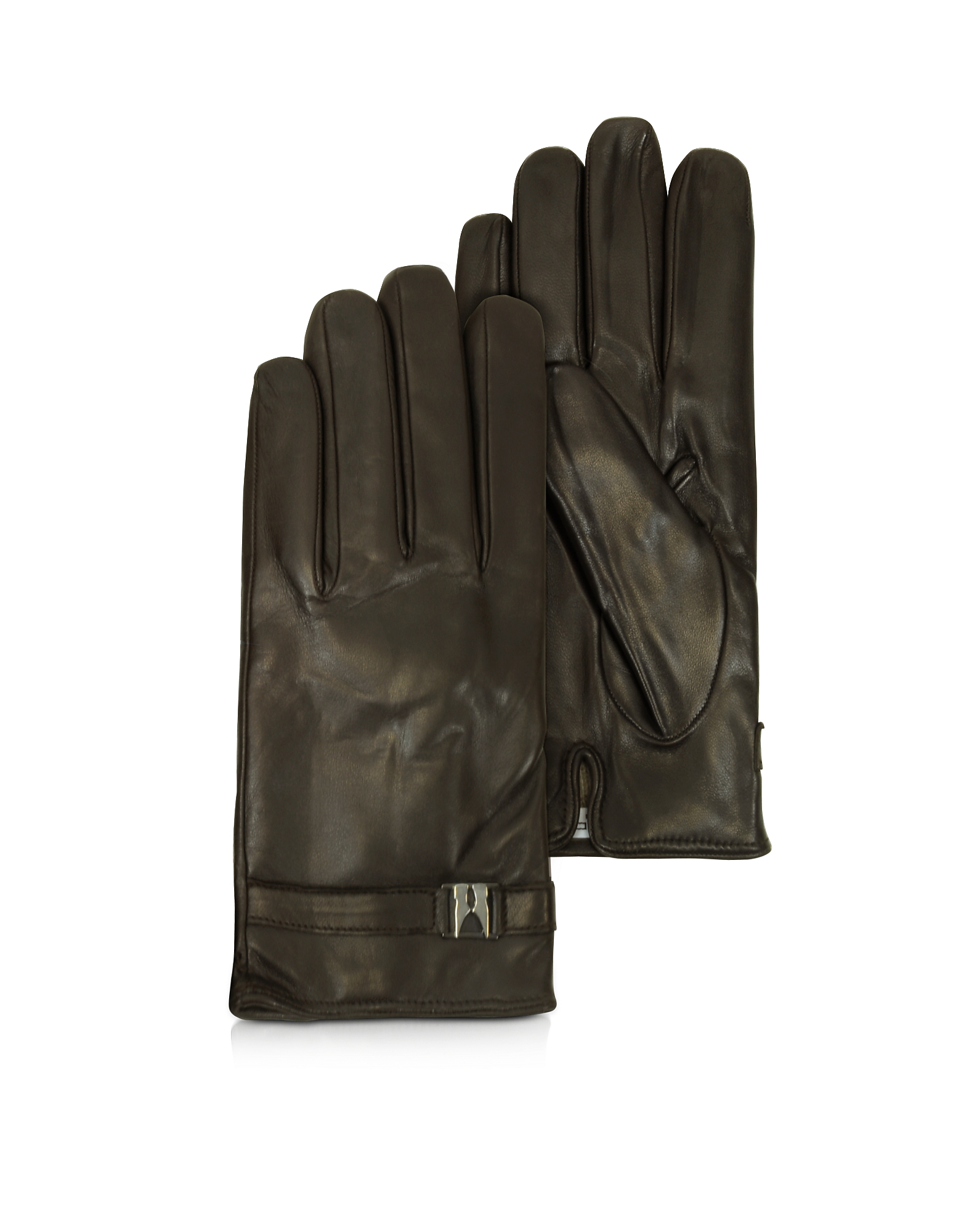 Moreschi Men's Gloves, Alaska Dark Brown Leather Men's Gloves w/Cashmere Lining