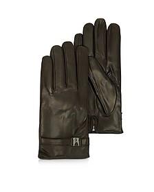 Alaska Herren-Handschuhe aus Leder in dunkelbraun mit Kaschmirfutter - Moreschi