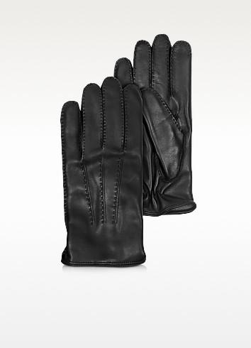 Moreschi Canada - Черные Кожаные Мужские Перчатки с Подкладкой из Кашемира