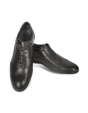 Black Leather Wingtip Sneaker Shoes