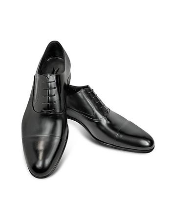 Dublin Black Leather Cap-Toe Oxford Shoes