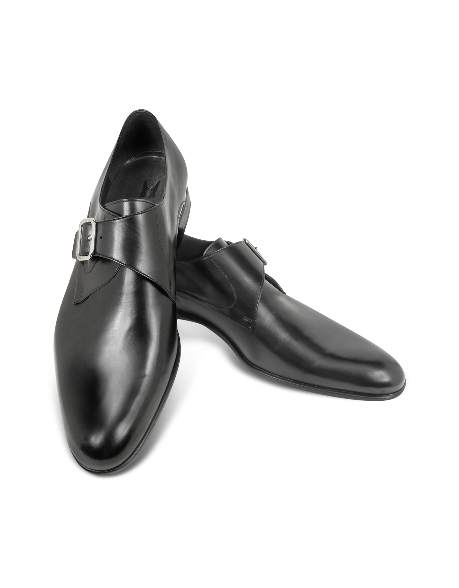 Moreschi Shoes, Kobe Black Leather Monk Strap Shoes