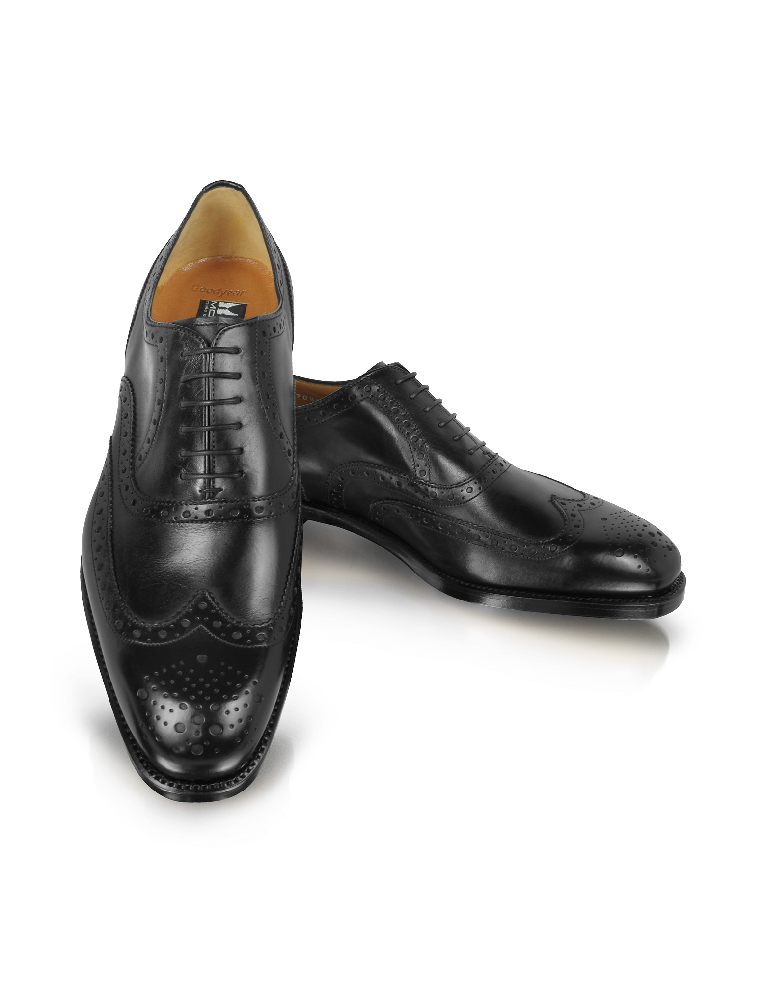 Moreschi Shoes, Black Leather Wingtip Oxford Shoes