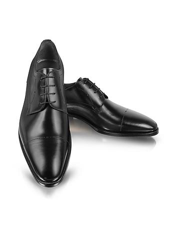 Black Leather Cap-Toe Derby Shoes