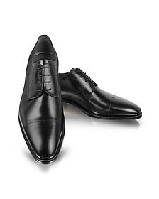 Black Leather Cap-Toe Derby Shoes - Moreschi